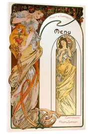 Verre acrylique  Moet & Chandon Menu orange - Alfons Mucha