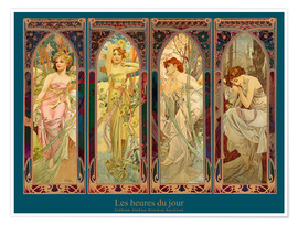 Poster  Les heures du jour, collage - Alfons Mucha