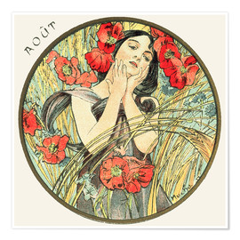 Poster  Les Mois - August - Alfons Mucha