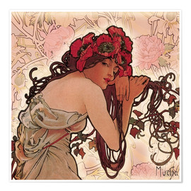 Poster  Pivoines - Alfons Mucha
