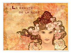 Poster  La beauté de la rose, collage - Alfons Mucha