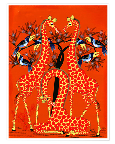 Poster Yellow Giraffe Trio