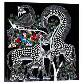 Tableau en aluminium  Black Animals in the savanna - Rubuni