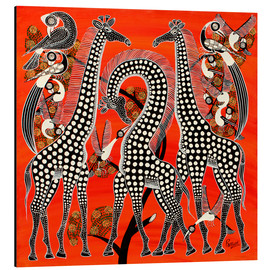 Tableau en aluminium  Black giraffe in savannah - Rubuni