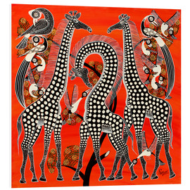 Tableau en PVC  Black giraffe in savannah - Rubuni