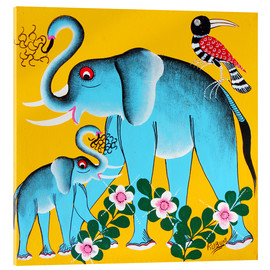 Tableau en verre acrylique  Elephants in the care - Rubuni