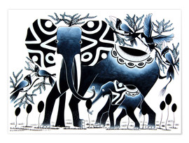 Poster  Elephant in Black - Rafiki