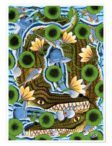 Poster Crocodiles in water lilies