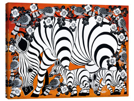 Tableau sur toile  Zebra mother with baby - Zuberi