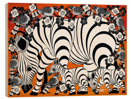 Tableau en bois  Zebra mother with baby - Zuberi