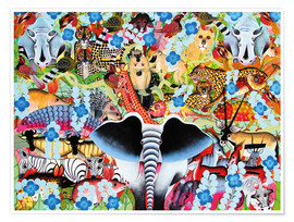Poster Colorful collage of Africa