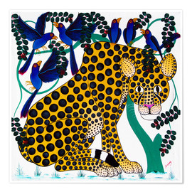 Poster  Cheetah seeks protection under the bird tree - Omary