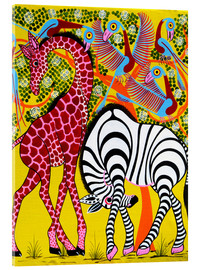 Tableau en verre acrylique  Zebra with Giraffe in the bush - Omary