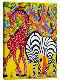 Tableau sur toile  Zebra with Giraffe in the bush - Omary