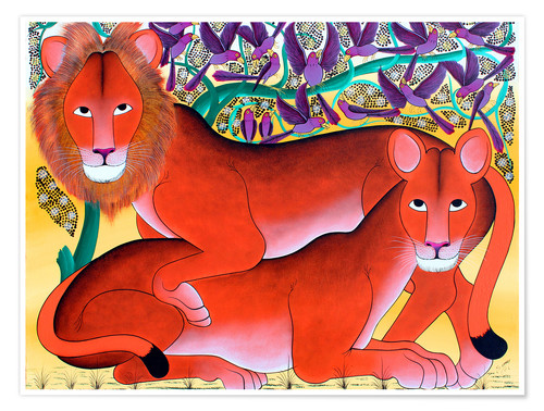 Poster Lion lioness protecting