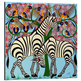 Tableau en aluminium  Loyalty zebras under the tree - Omary