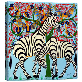 Tableau sur toile  Loyalty zebras under the tree - Omary