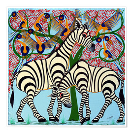 Poster  Loyalty zebras under the tree - Omary