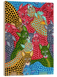 Tableau en bois  Colorful Cheetah meeting - Omary