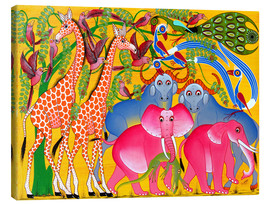 Tableau sur toile  Groups of animals in the bush - Omary