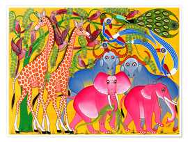 Poster  Groups of animals in the bush - Omary