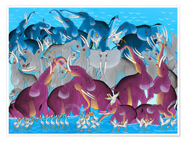 Poster  Colorful Elephants diversity - Omary