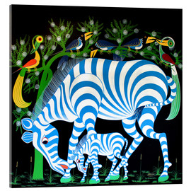 Tableau en verre acrylique  Blue Zebras at night - Rafiki