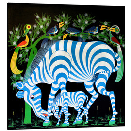 Tableau en aluminium  Blue Zebras at night - Rafiki