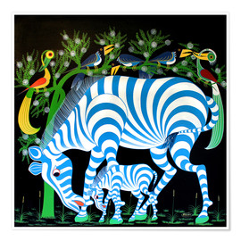 Poster Blue Zebras at night
