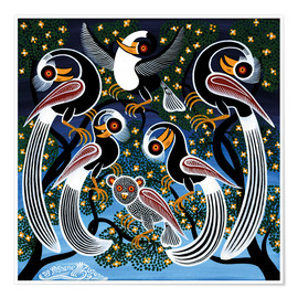 Poster  Flock of birds at bedtime - Mzuguno