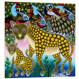 Tableau en PVC  Cheetah with peacock - Mzuguno