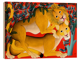 Tableau en bois  Mating with lions - Omary