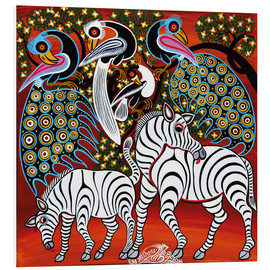 Tableau en PVC  Zebras with peacock - Mzuguno