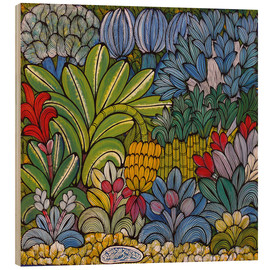 Tableau en bois  Colored flowers - Mzuguno