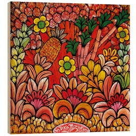 Tableau en bois  Blooms in Orange - Mzuguno