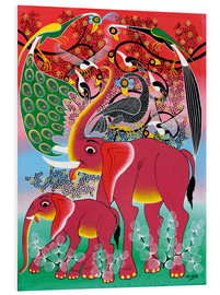Tableau en PVC  Red Elephant with peacock - Noel
