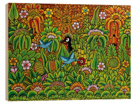Tableau en bois  Colorful life in the jungle - Mzuguno