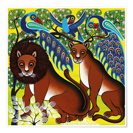 Poster  Lion with peacock - Mzuguno