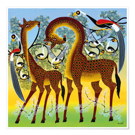 Poster  Giraffes at the bird tree - Noel