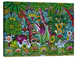 Tableau sur toile  Elephants in the jungle - Mzuguno
