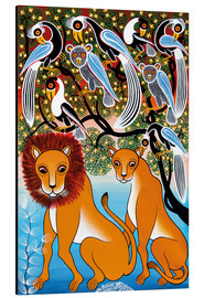 Tableau en aluminium  Pair of lions in the bush - Mzuguno