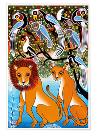 Poster Pair of lions in the bush