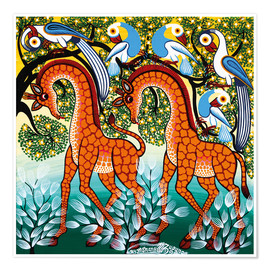 Poster  Giraffe in the bush - Mzuguno