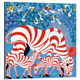 Tableau en aluminium  Zebras in red - Mustapha
