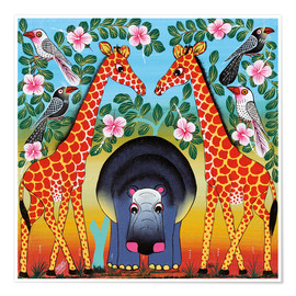 Poster  Hippo between giraffes - Mrope