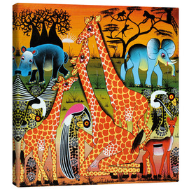 Toile  Family happiness in the savannah - Mrope