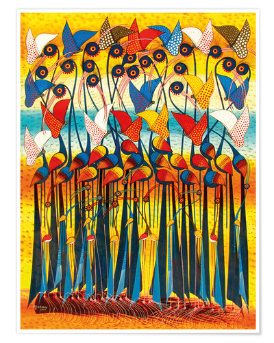 Poster Colorful Cranes