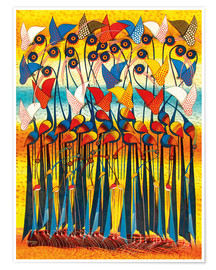Poster  Colorful Cranes - Allyys