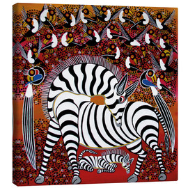 Toile  Zebra with a large flock of birds - Hassani