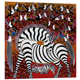 Tableau en PVC  Zebra with a large flock of birds - Hassani